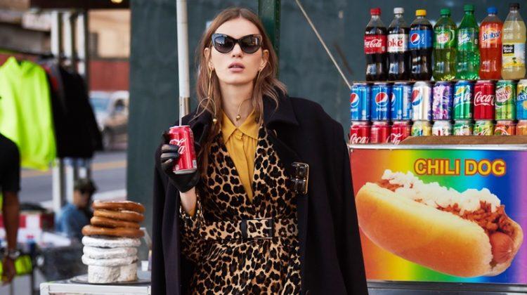 Sunglasses Dolce & Gabbana, Coat Maria Piankov, Leopard Blazer and Pants Frame, Belt Banana Republic, Shirt Porridge, Gloves ASOS, Earrings and Brooch Erickson Beamon and Shoes Stuart Weitzman