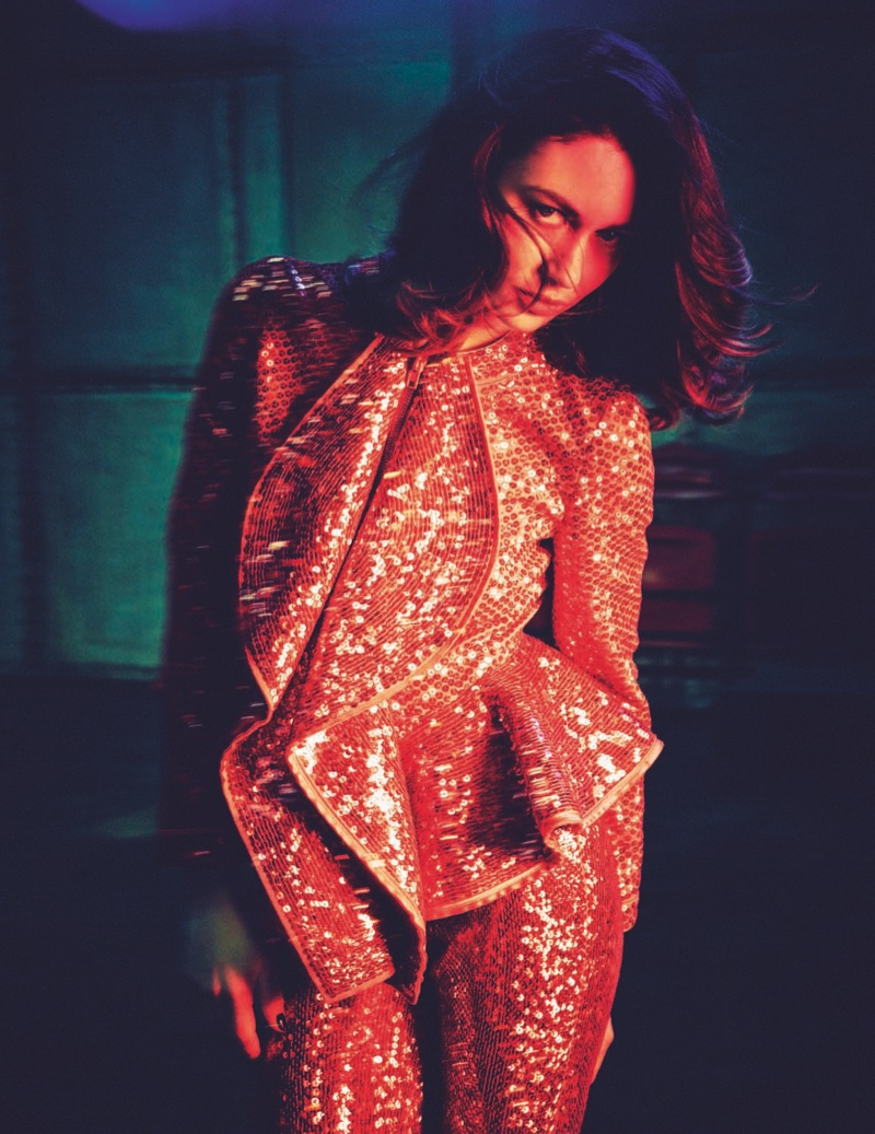 Olga Kurylenko wears Givenchy sequined top and pants