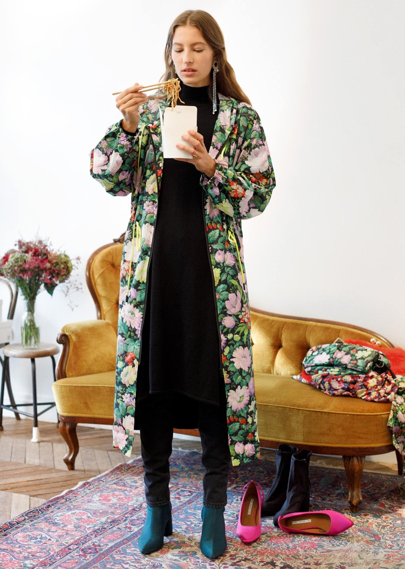 & Other Stories Frill Shoulder Dress and Wild Flowers Print Long Coat with Hood