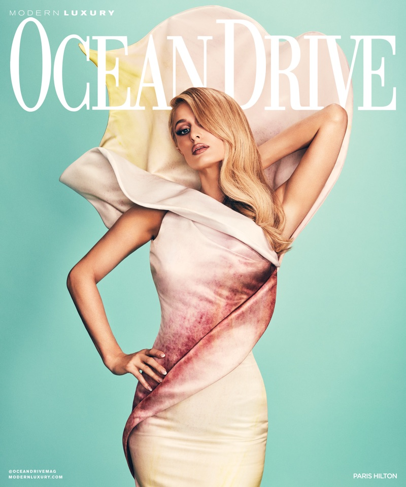 Paris Hilton on Ocean Drive Magazine December 2017 Cover