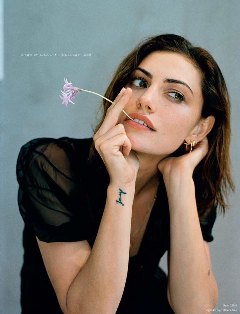 Showing off her tattoo, Phoebe Tonkin poses in Chloe dress