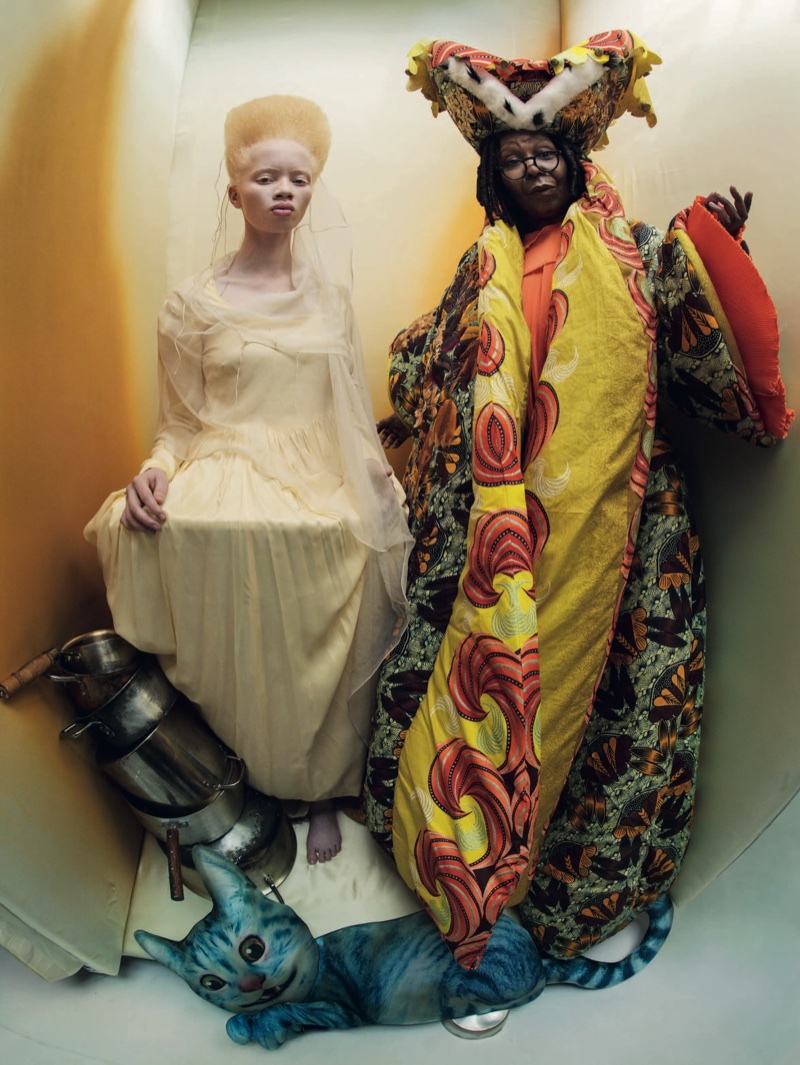 Whoopi Goldberg as The Royal Duchess and Thando Hopa as The Princess of Hearts for the Pirelli 2018 Calendar