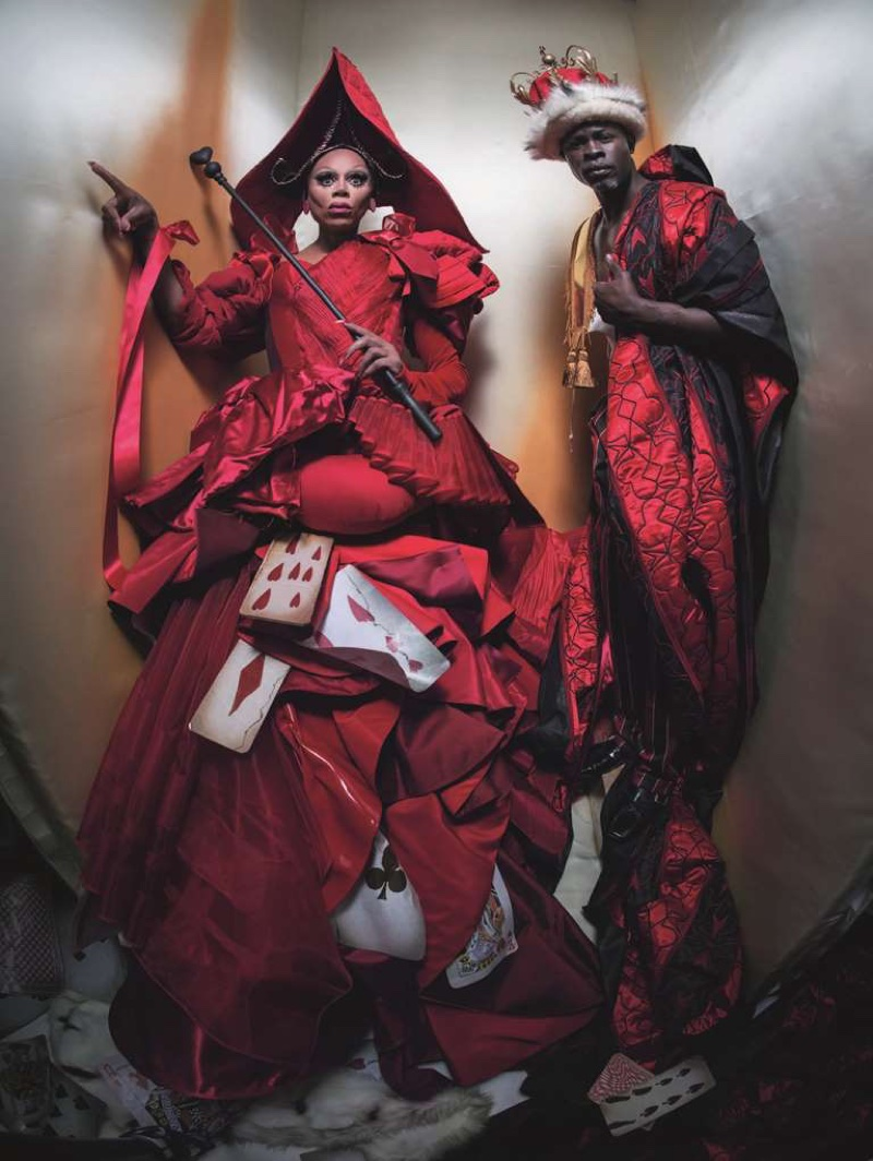 RuPaul as The Queen of Hearts and Djimon Hounsou as The King of Hearts in 2018 Pirelli Calendar