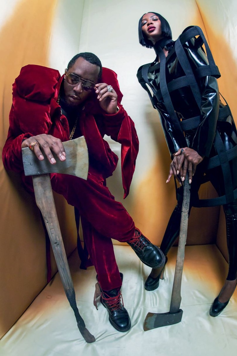 Sean Diddy Combs and Naomi Campbell as The Royal Beheaders for the 2018 Pirelli Calendar