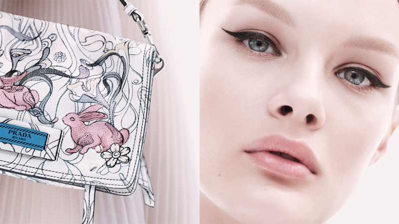 Model Kris Grikaite gets her closeup in Prada Synthesis resort 2018 campaign