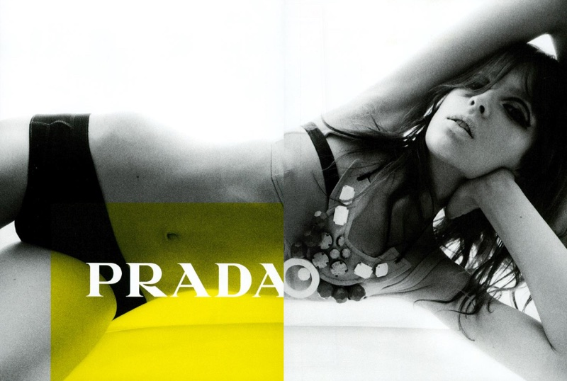 Elise Crombez wears embellished swimsuit in Prada spring-summer 2003 campaign