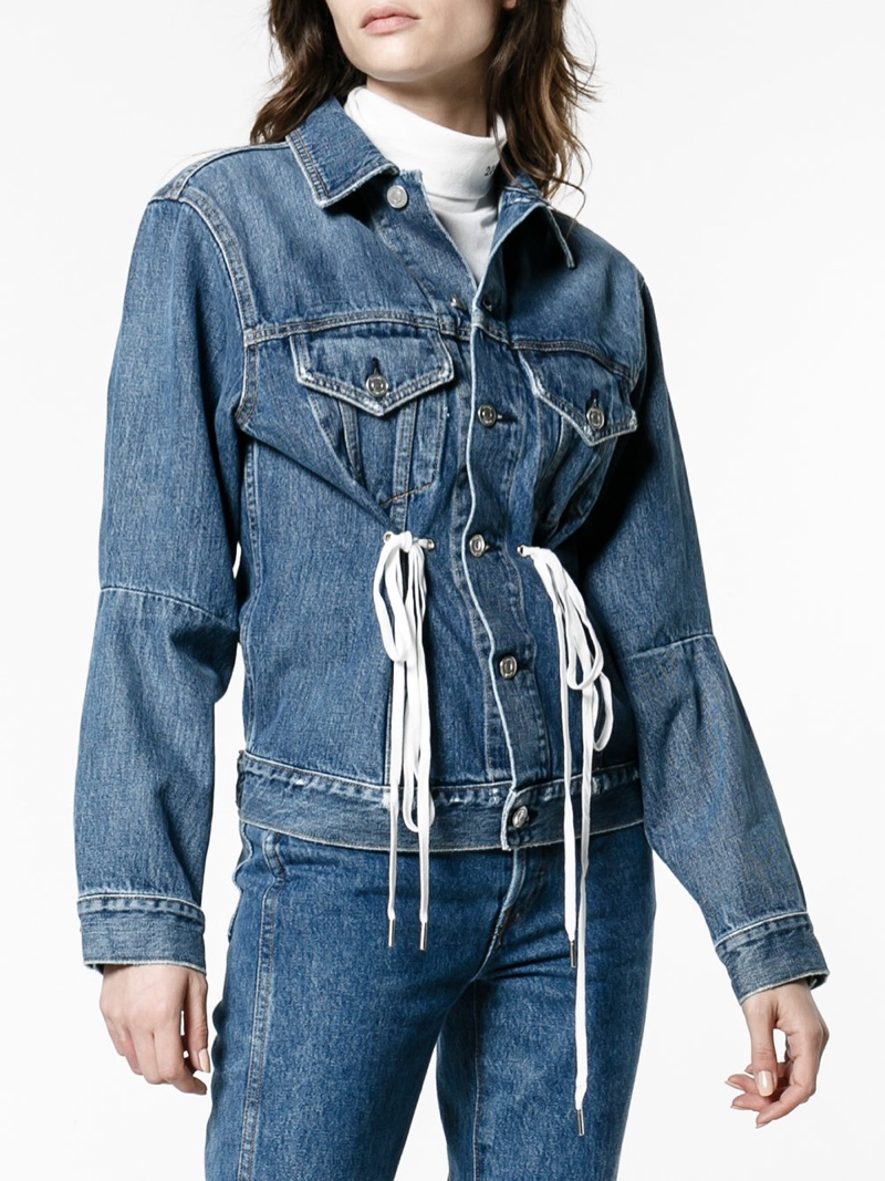 Proenza Schouler PSWL Denim Jacket with Drawstring Waist $662