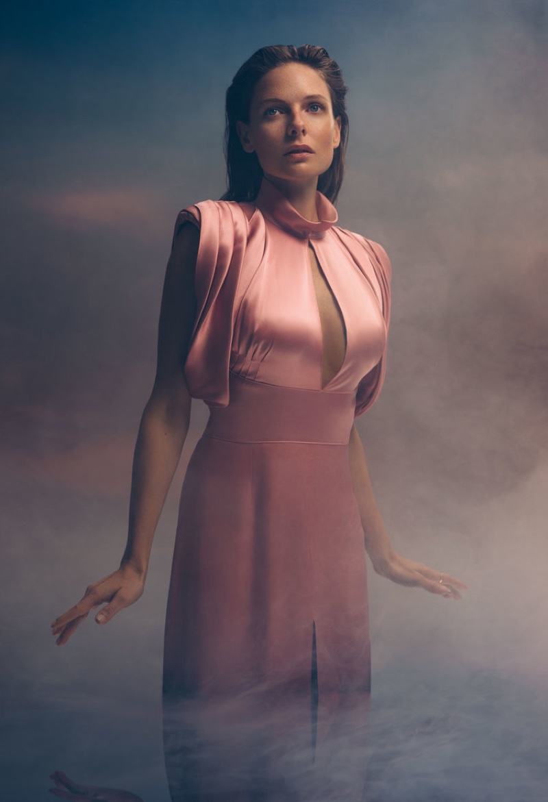 Looking pretty in pink, Rebecca Ferguson wears Prada dress