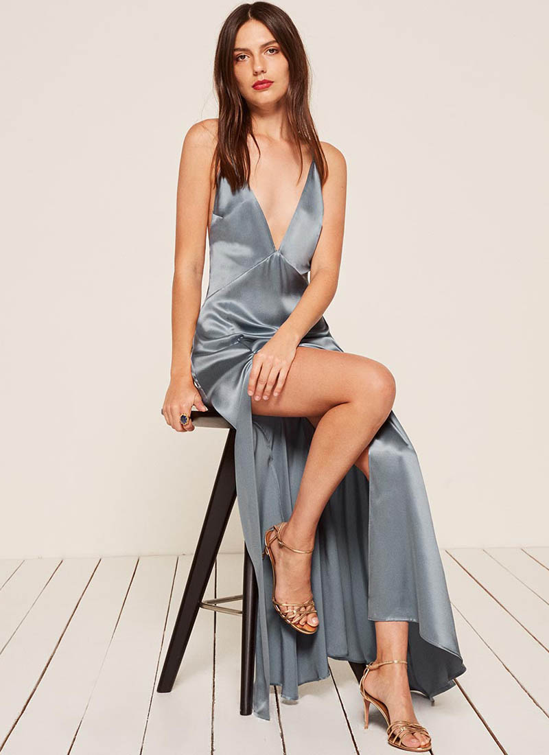 Reformation Amante Dress in Sky $174 (previously $248)