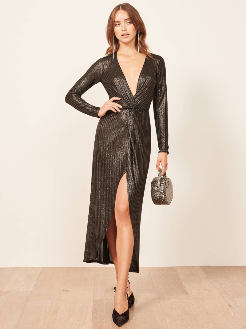 Reformation Carlyle Dress in Gold $178
