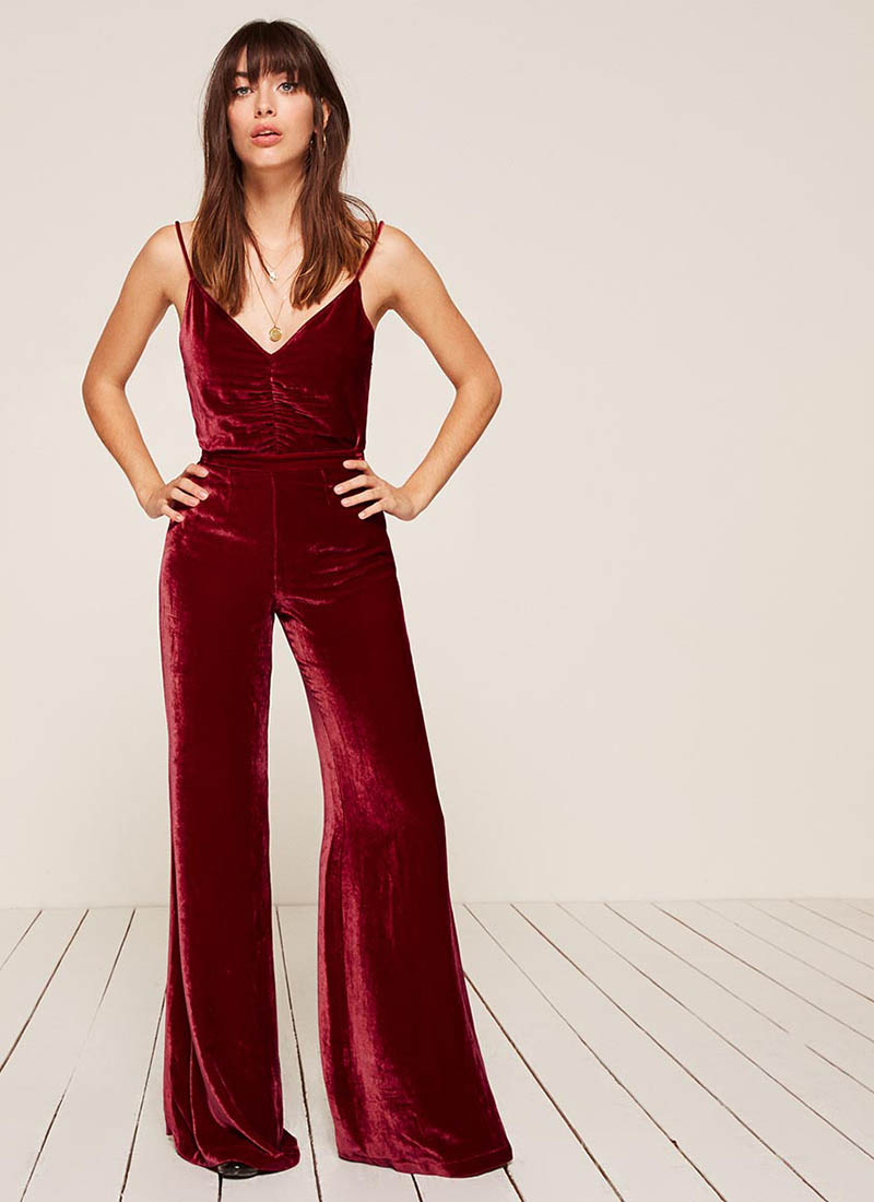 Reformation Jasper Top $98 and Clint Pant in Crimson $178