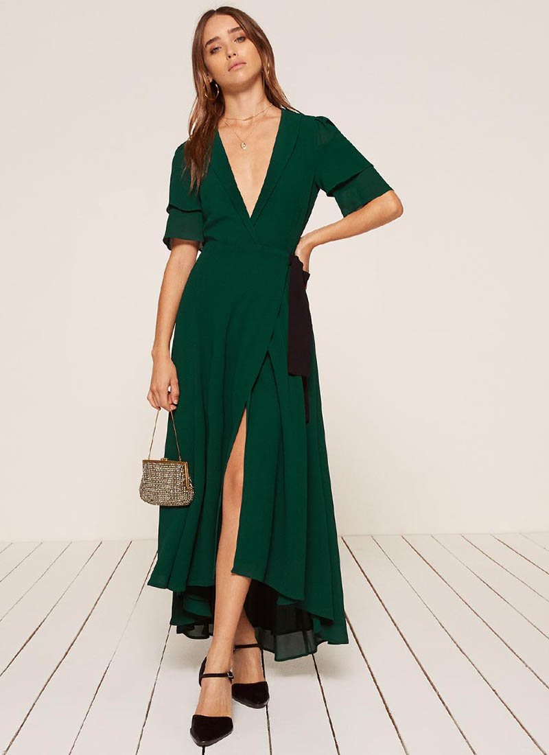 Reformation Layley Dress in Emerald $248
