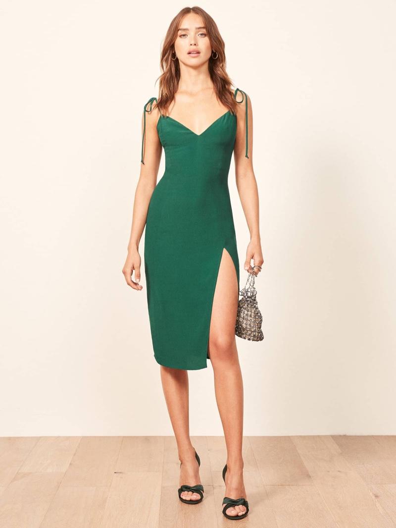 Reformation Lola Dress in Emerald $198