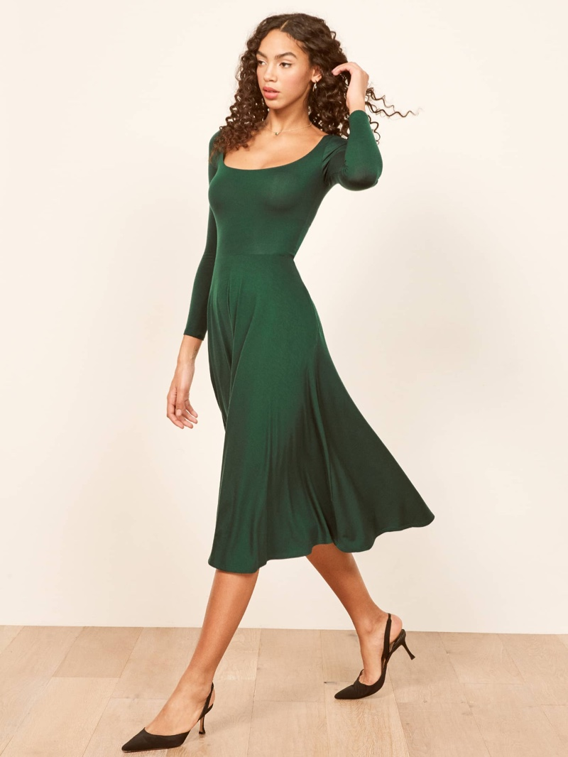 Reformation Lou Dress in Emerald $118