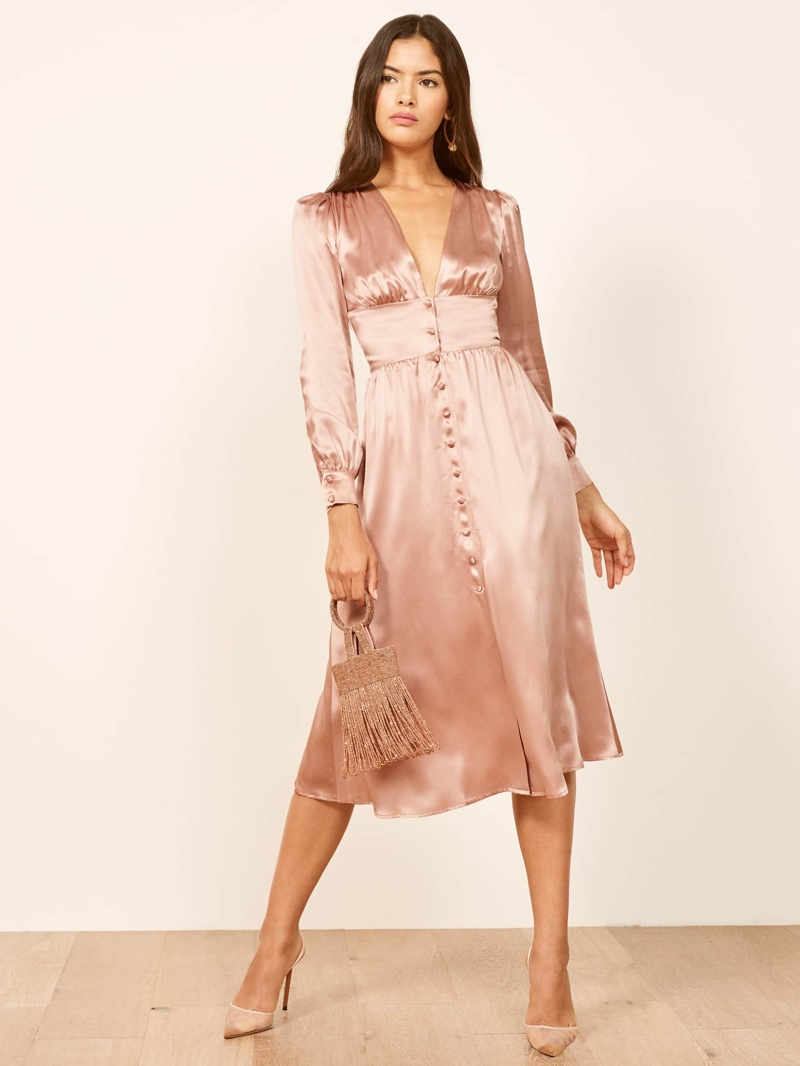 Reformation Nicola Dress in Blush $278