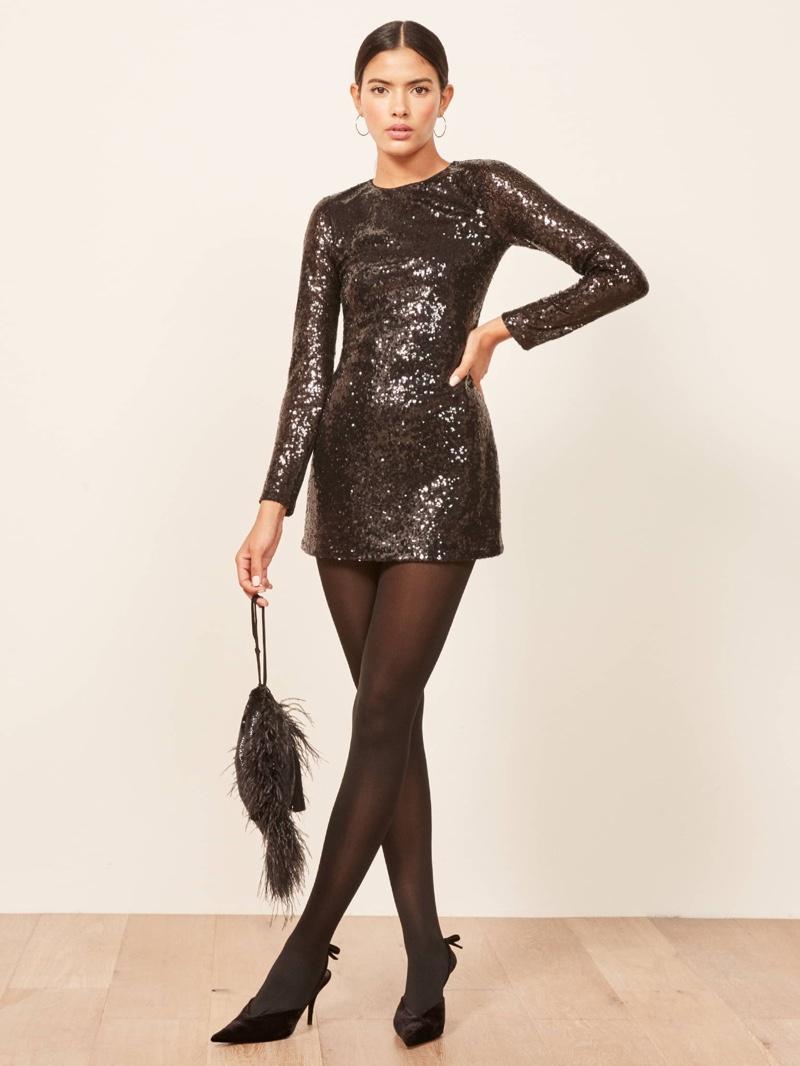 Reformation Odeon Dress in Black $198