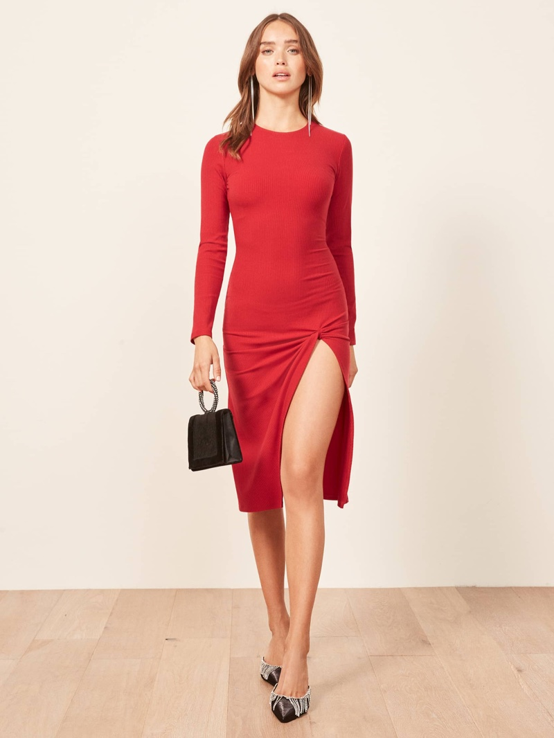 Reformation Piazza Dress in Cherry $128