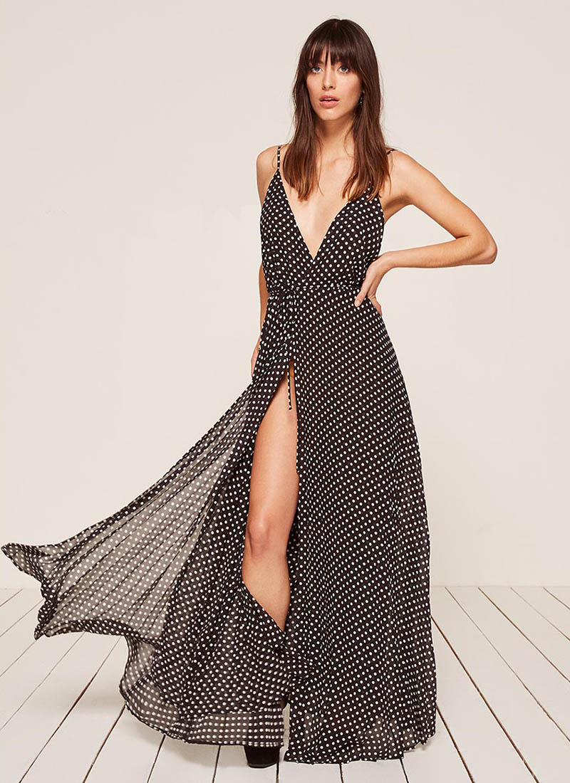 Reformation Pleated Maxi Dress in Shaw $428