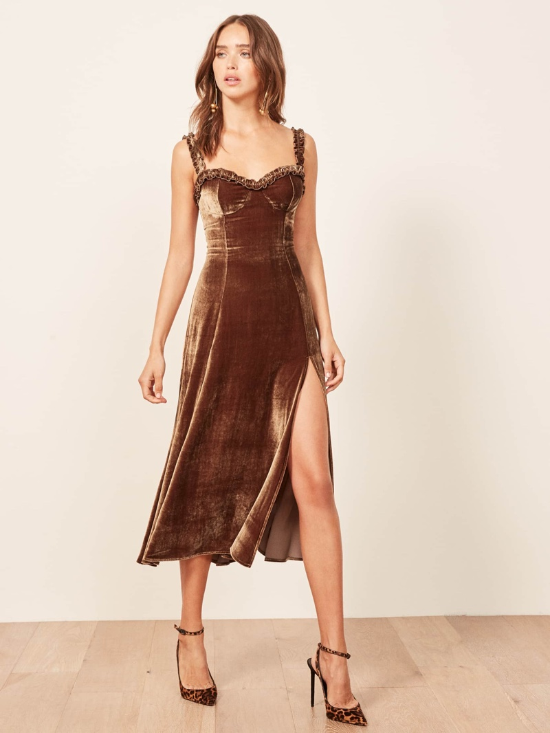 Reformation Pyrenees Dress in Toffee $298