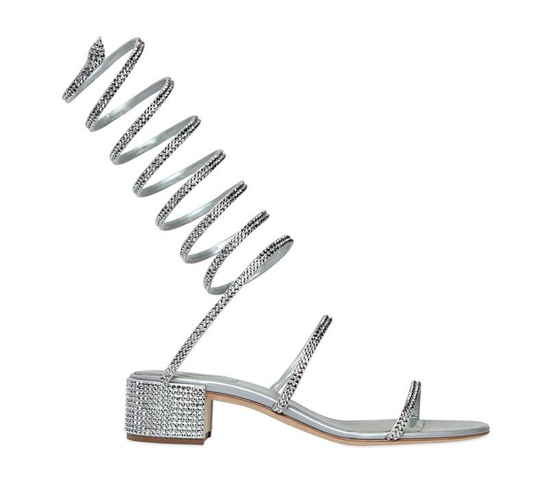 René Caovilla Satin Swarovski Wrap Sandals $2,058