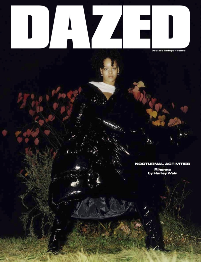 Singer Rihanna wears Philipp Plein puffer jacket and Courrèges crop top on Dazed Magazine Winter 2017 Cover