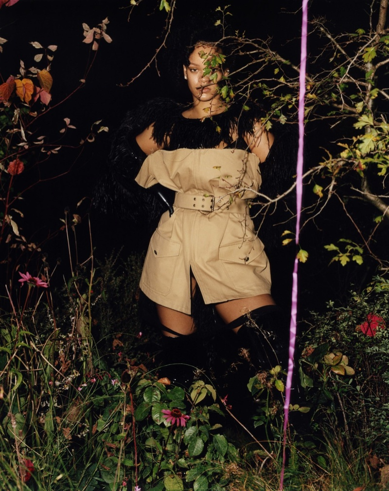 Rihanna poses in Maison Margiela coat and t-shirt with Intimissimi slip