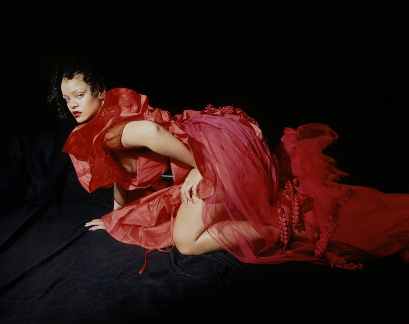 Looking red-hot, Rihanna poses in Andreas Kronthaler for Vivienne Westwood dress
