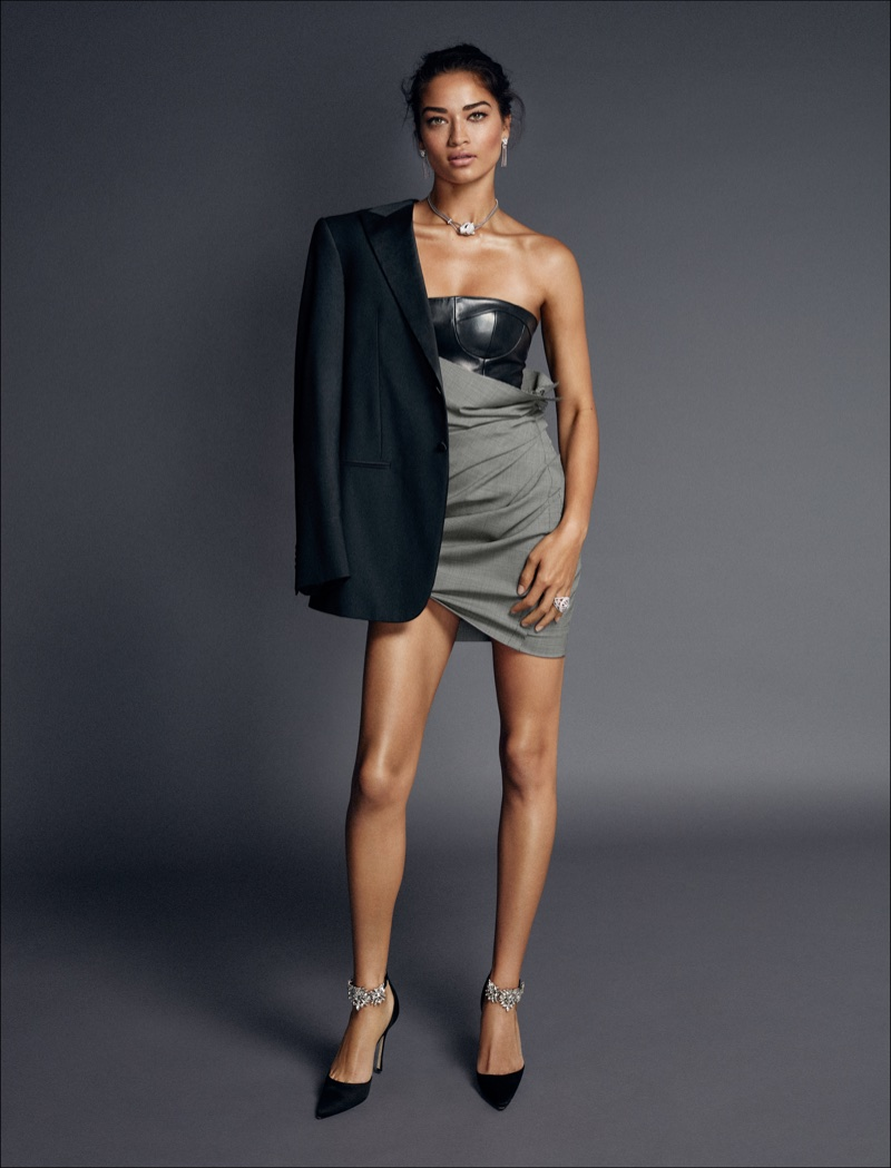 Shanina Shaik Wears Black & White Styles for ELLE Spain