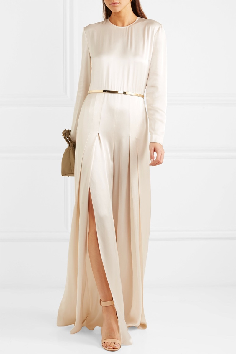 Stella McCartney Belted Pleated Satin Jumpsuit $2,375