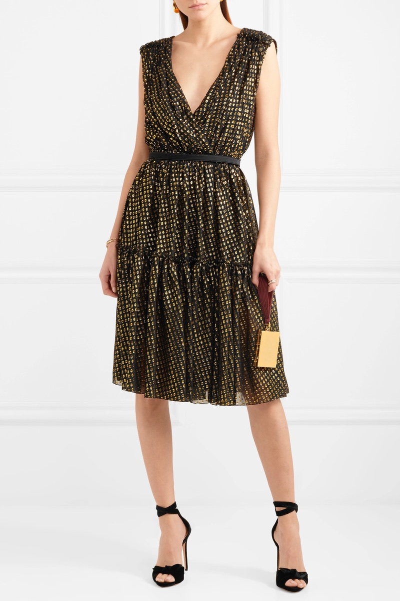 Stella McCartney Metallic Fil Coupé Silk-Chiffon Dress $2,375
