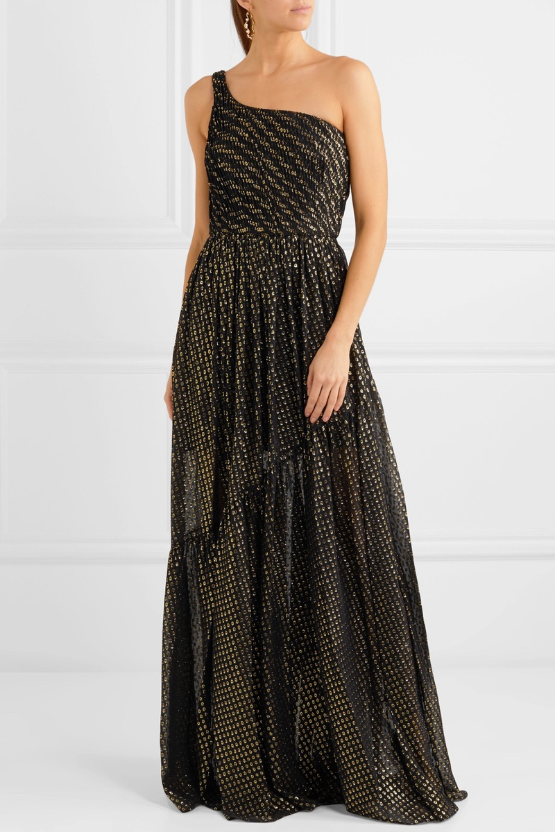 Stella McCartney One-Shoulder Metallic Fil Coupé Silk-Blend Chiffon Gown $3,745