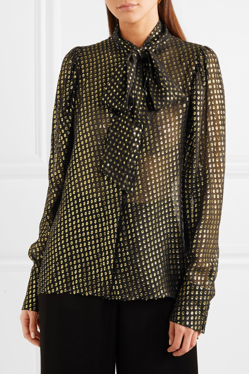 Stella McCartney Pussy-Bow Metallic Fil Coupé Silk-Blend Chiffon Blouse $875
