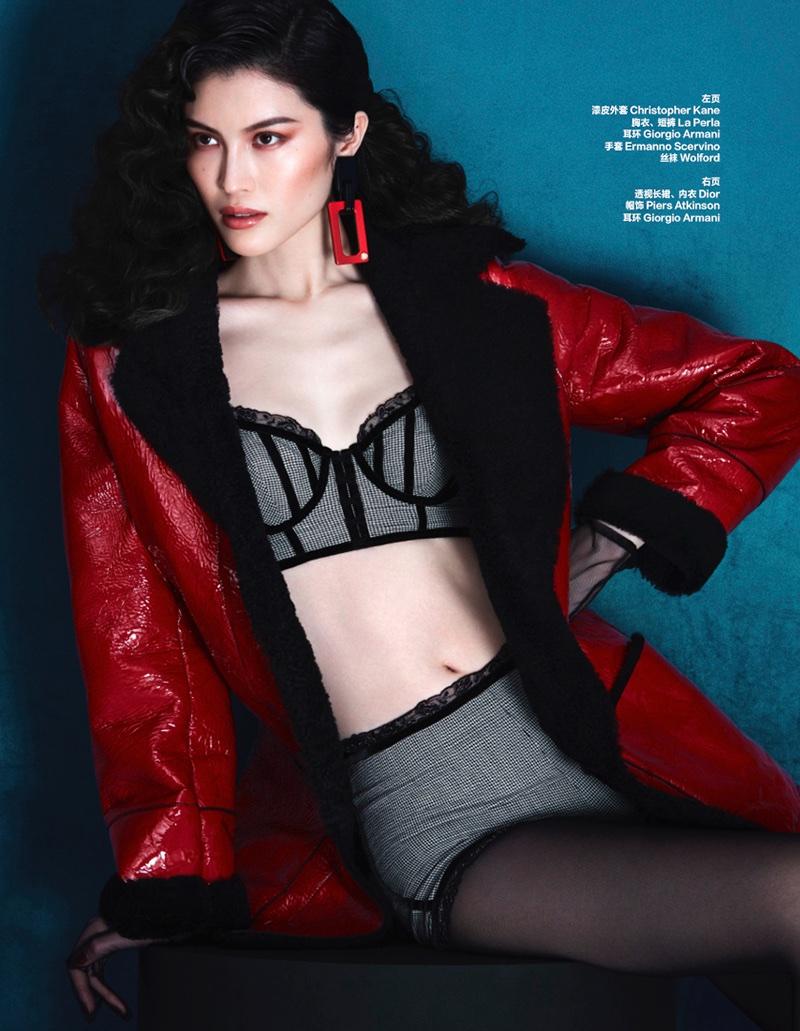 Sui He Wears Sleek Winter Styles in Harper's Bazaar China