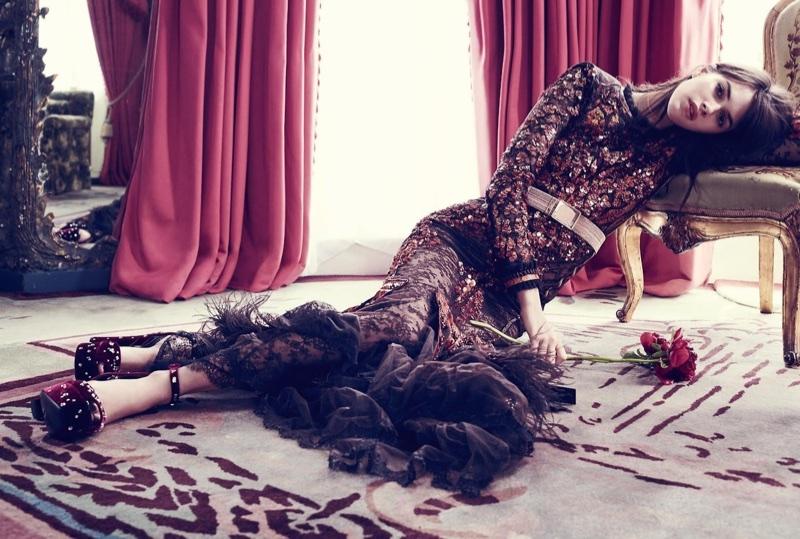 Vanessa Moody Models Glamorous Gowns in Harper's Bazaar UK
