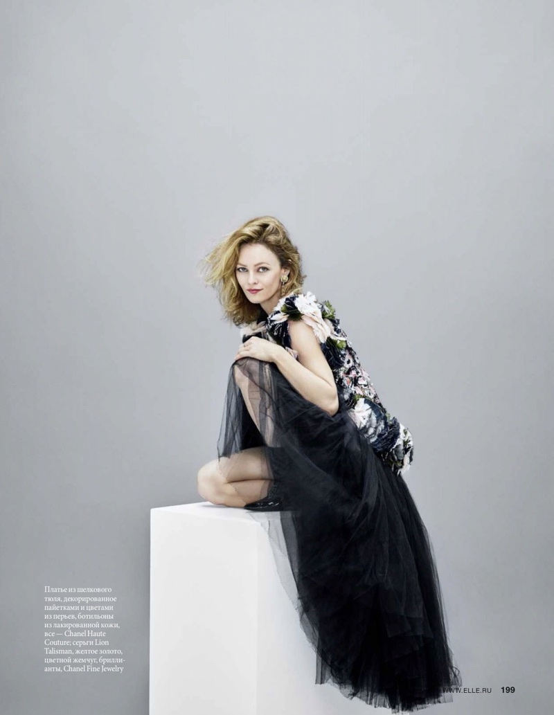 Embracing florals, Vanessa Paradis poses in Chanel Haute Couture gown