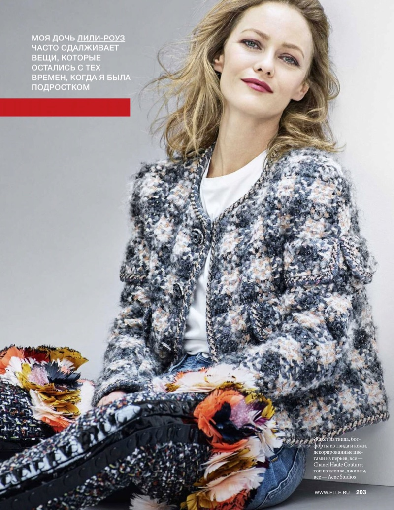 Wearing a tweed jacket and denim, Vanessa Paradis poses in Chanel Haute Couture ensemble