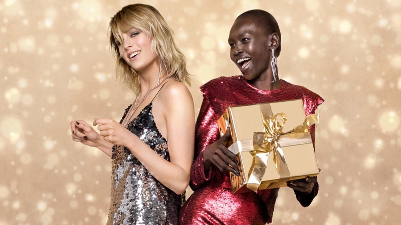 Edie Campbell and Alek Wek shine in sequins for Zalando's Christmas 2017 campaign