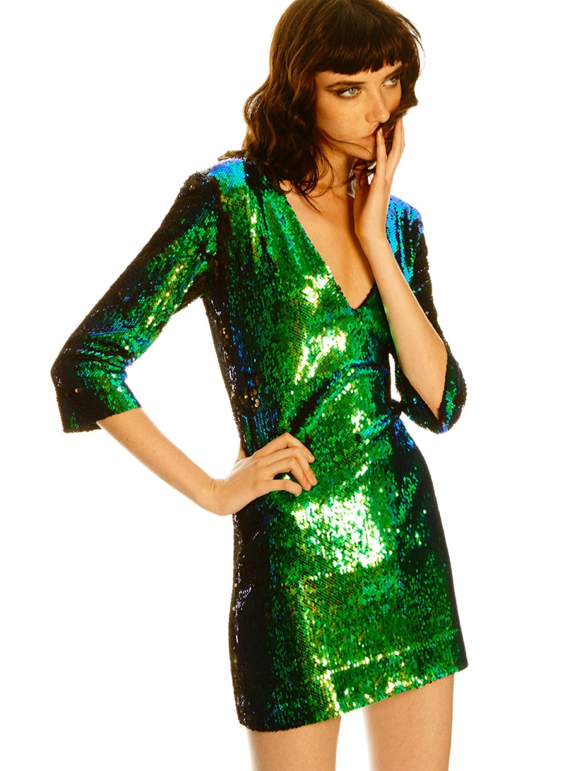 Zara two-tone sequined dress