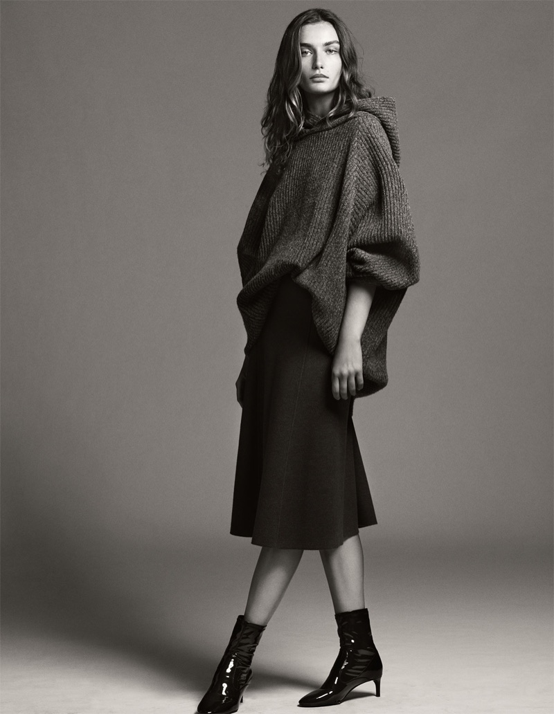 Andreea Diaconu models Zara oversiszed hooded sweater, knit midi skirt and faux patent ankle boots