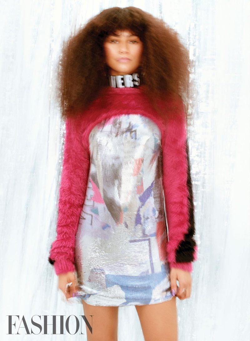 Zendaya wears Versus Versace top, dress and choker