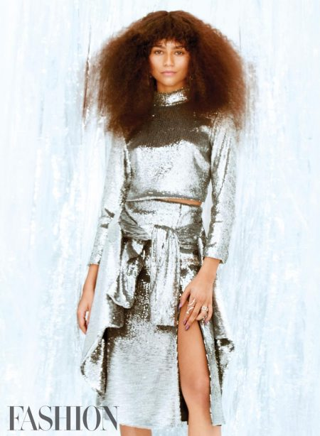 Shining in silver, Zendaya wears A.L.C. top, skirt and jacket