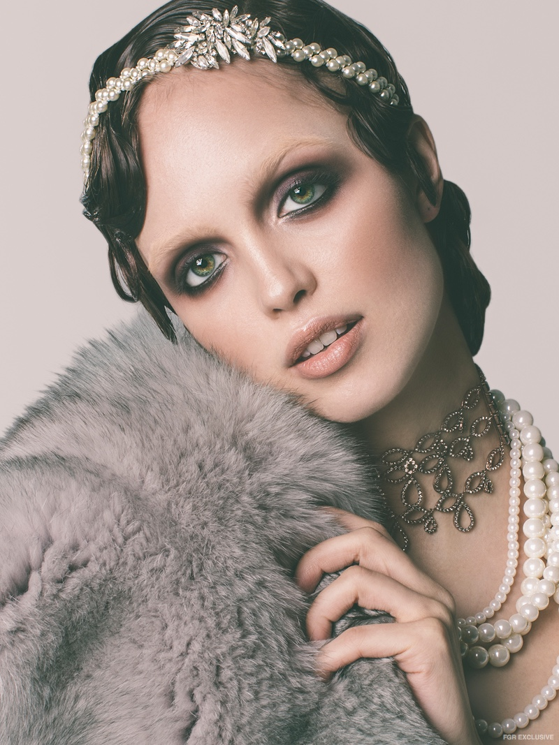 Headpiece and Choker Erickson Beamon, Pearl Necklace RJ Graziano and Fur Stole Alejandra Alonso Rojas