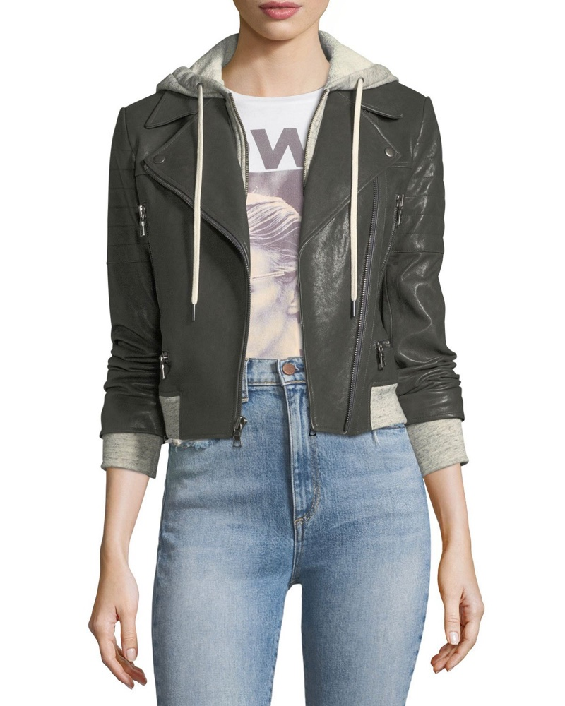 AO.LA Avril Hooded Combo Sweatshirt Leather Jacket $995