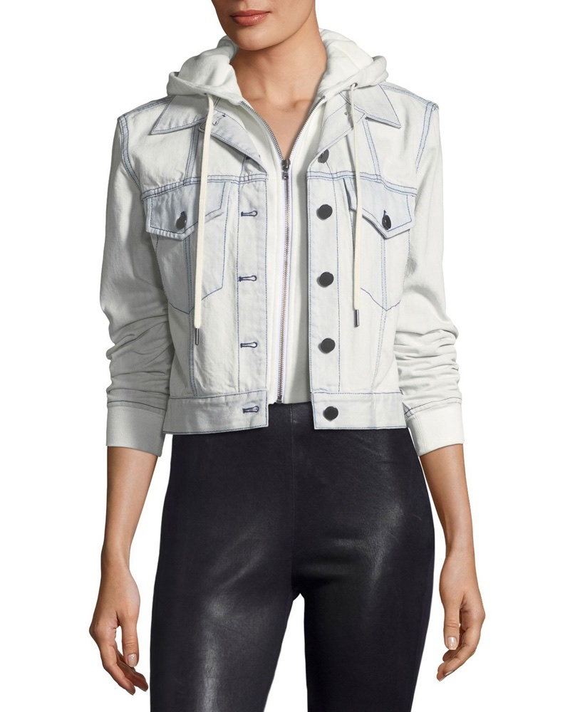 AO.LA Chloe Cropped Denim Jacket with Hood $485