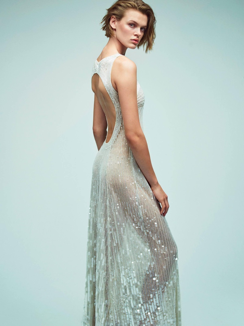Cara Taylor poses in sheer dress for Alberta Ferretti's spring-summer 2018 campaign