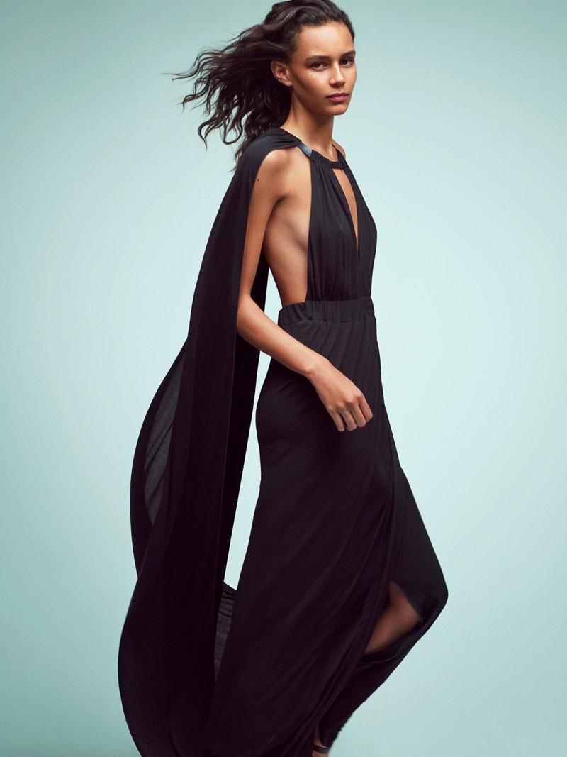 Binx Walton wears a black gown in Alberta Ferretti's spring-summer 2018 campaign