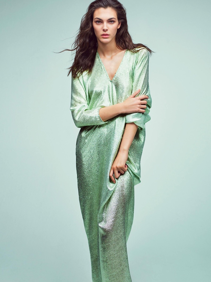 Vittoria Ceretti shines in green dress for Alberta Ferretti's spring-summer 2018 campaign