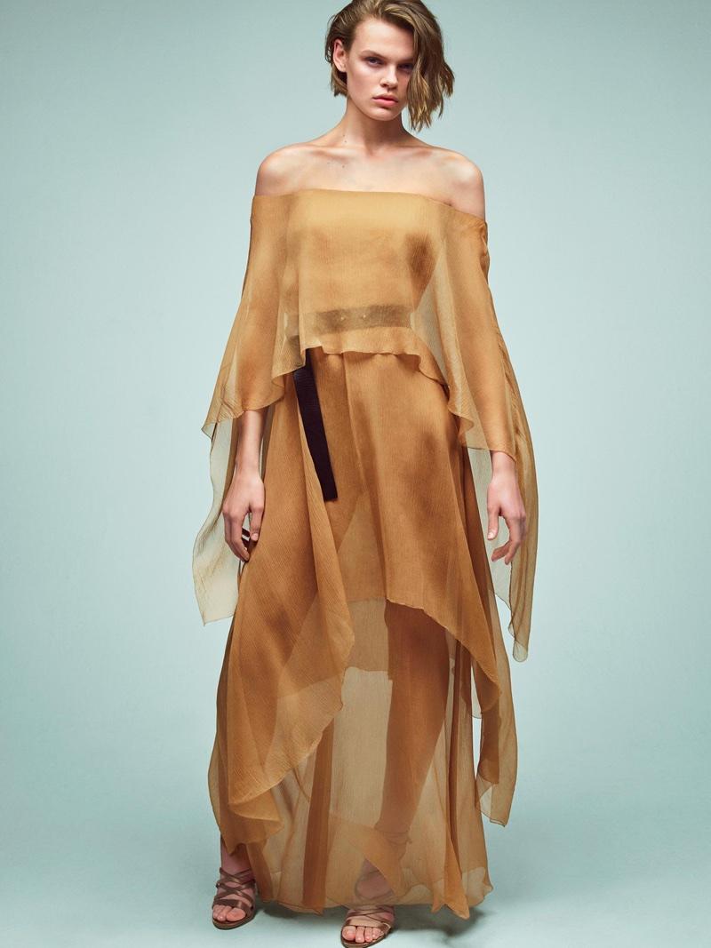 Cara Taylor models draped look in Alberta Ferretti's spring-summer 2018 campaign
