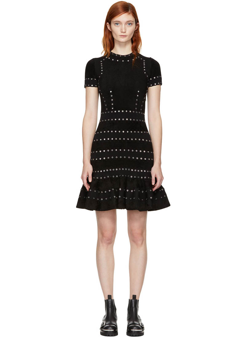 Alexander McQueen Black Eyelet Flared Dress $2097 (previously $2995)