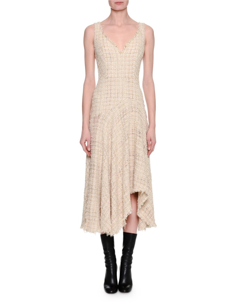 Alexander McQueen Metallic Tweed Sleeveless Draped Midi Dress $1,276.35 (previously $3,175)